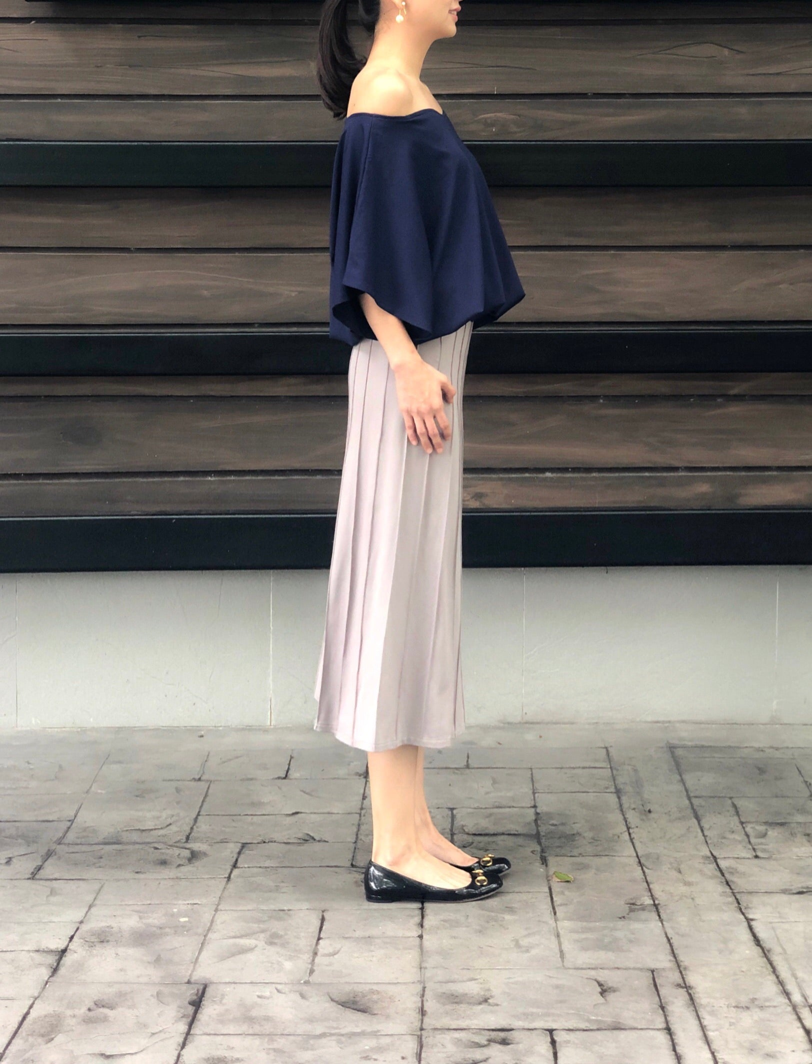 July Off Shoulder Top in Navy