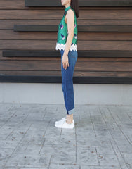 Ina Closed Neck Laced Top in Green
