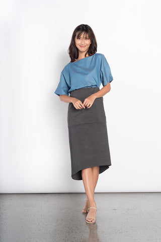 Efa Electric Pleated Knitted Skirt in Grey