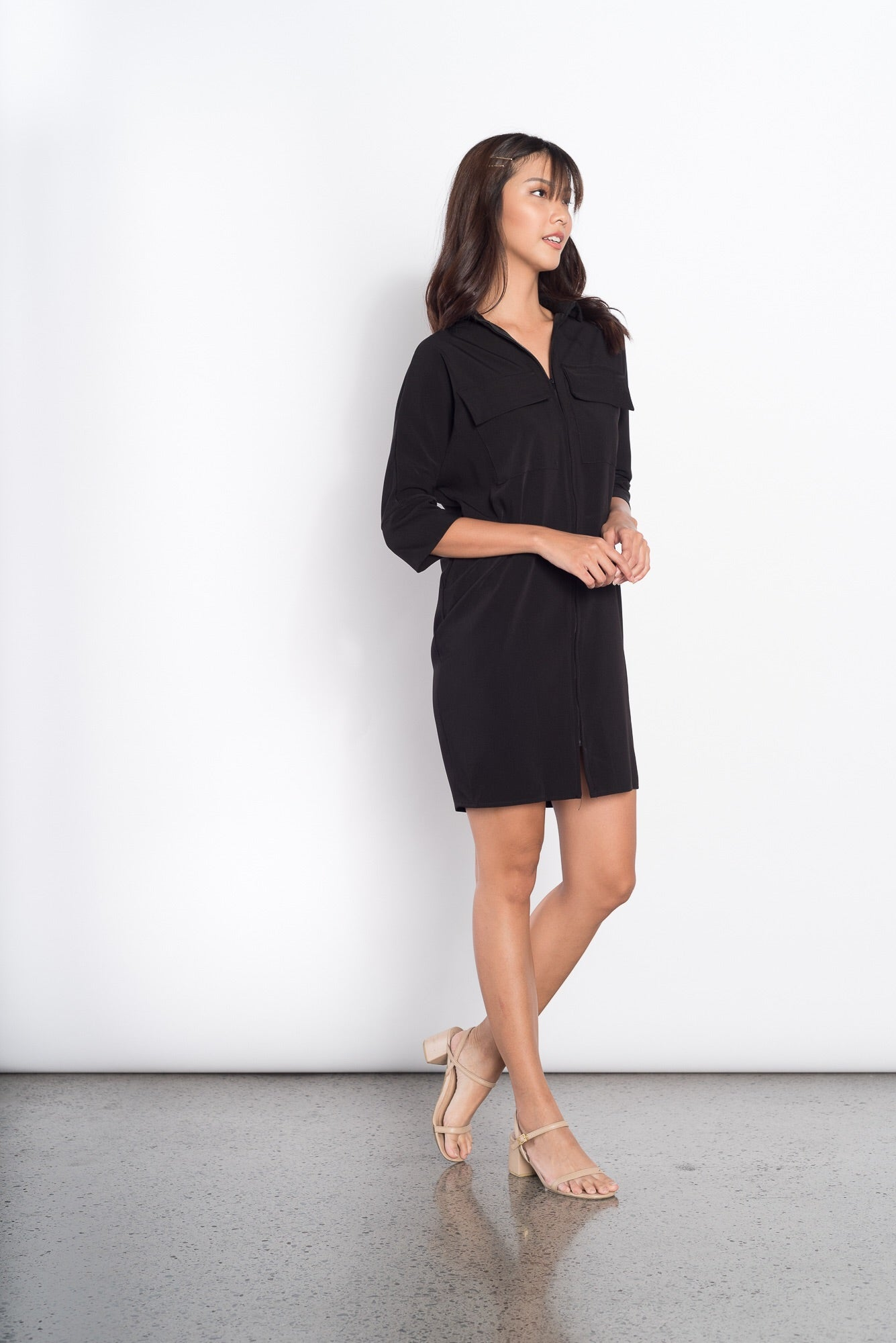 Freda 3/4 2 Pocket Dress in Black