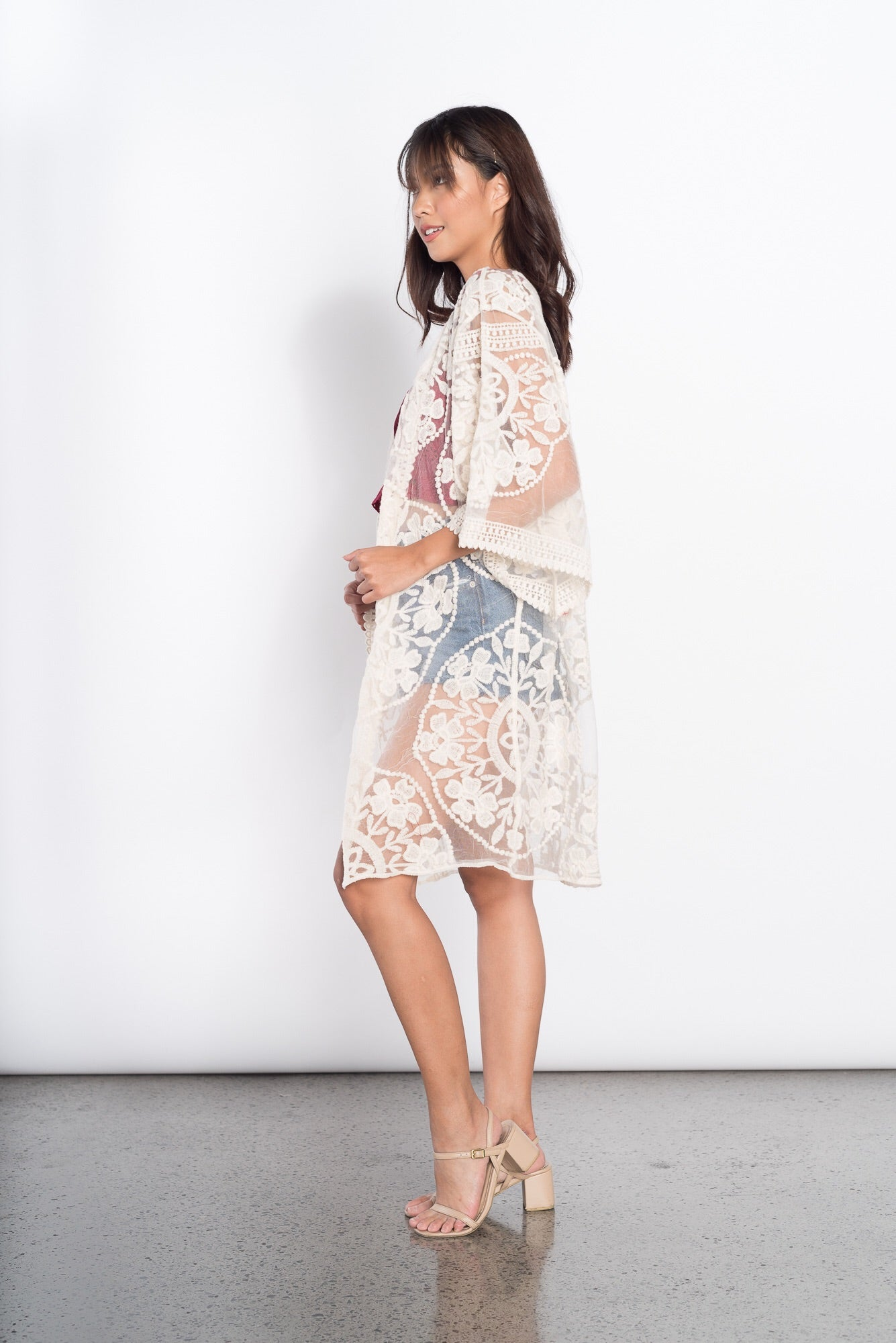 Gittan Lace Cover Up in Beige