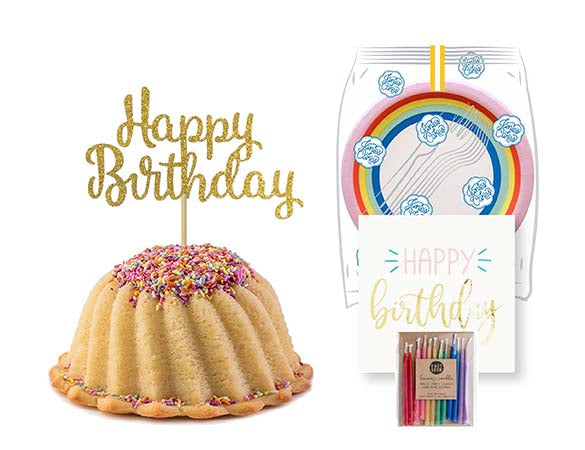 Vanilla pound cake in the shape of a bundt filled with vanilla buttercream and topped with all natural sprinkles. Serves 6. Packaged in our signature yellow and white striped gift box with a blue bow. With a A small birthday party pack that includes: 6 Rainbow Party Plates. 6 Happy Birthday Napkins. 6 Clear Plastic Forks. 1 Clear Plastic Knife. 1 - 12 Count Rainbow Beeswax Candles. 1 Gold Happy Birthday Cake Topper. Packaged in a Janie's Cakes logo printed cellophane bag.