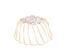 Load image into Gallery viewer, Vanilla pound cake in the shape of a bundt filled with vanilla buttercream and topped with all natural sprinkles. Serves 6. Packaged in our signature yellow and white striped gift box with a blue bow.