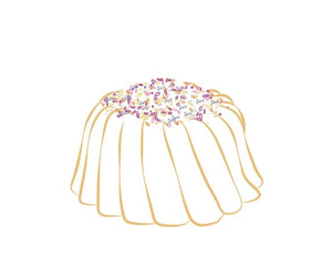 Vanilla pound cake in the shape of a bundt filled with vanilla buttercream and topped with all natural sprinkles. Serves 6. Packaged in our signature yellow and white striped gift box with a blue bow.