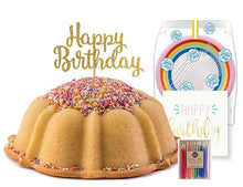 Load image into Gallery viewer, Vanilla pound cake in the shape of a bundt filled with vanilla buttercream and topped with all natural sprinkles. Serves 12. Packaged in our signature yellow and white striped gift box with a blue bow. With a A small birthday party pack that includes: 15 Rainbow Party Plates. 15 Happy Birthday Napkins. 15 Clear Plastic Forks. 1 Clear Plastic Knife. 1 - 12 Count Rainbow Beeswax Candles. 1 Gold Happy Birthday Cake Topper. Packaged in a Janie's Cakes logo printed cellophane bag.
