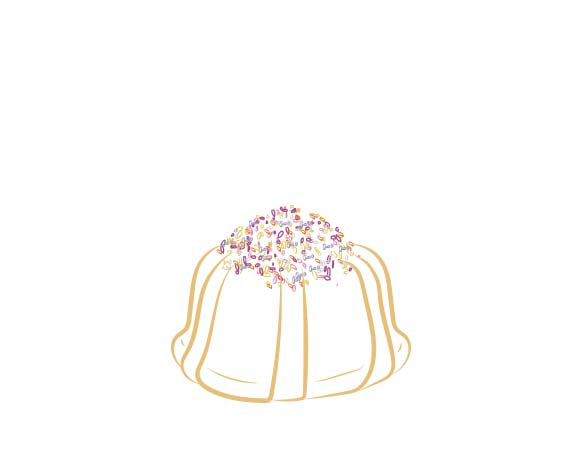 Vanilla pound cake in the shape of a bundt filled with vanilla buttercream and topped with all natural sprinkles. Serves 1-2. Each Janie's Cake Petite size pound cake is packaged in a clear container with a Janie's logo sticker and yellow and white striped closure sticker.