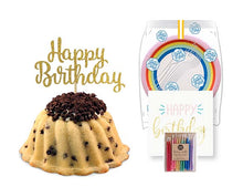 Load image into Gallery viewer, Chocolate chip pound in the shape of a bundt filled with vanilla buttercream and topped with chocolate chips. Serves 6 Packaged in our signature yellow and white striped gift box with a blue bow. With a A small birthday party pack that includes: 6 Rainbow Party Plates. 6 Happy Birthday Napkins. 6 Clear Plastic Forks. 1 Clear Plastic Knife. 1 - 12 Count Rainbow Beeswax Candles. 1 Gold Happy Birthday Cake Topper. Packaged in a Janie's Cakes logo printed cellophane bag.
