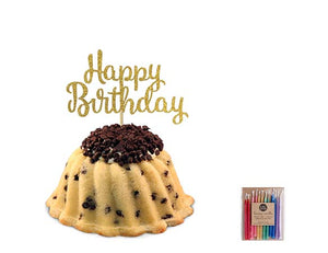 Chocolate chip pound in the shape of a bundt filled with vanilla buttercream and topped with chocolate chips. Serves 6. Packaged in our signature yellow and white striped gift box with a blue bow. Also includes a gold happy birthday cake topper and a 12 count of rainbow candles.