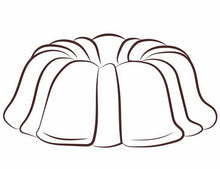 Load image into Gallery viewer, Gingerbread pound cake in the shape of a bundt finished off with a kiss of rum sauce. Serves 12. Packaged in our signature yellow and white striped gift box with a blue bow.