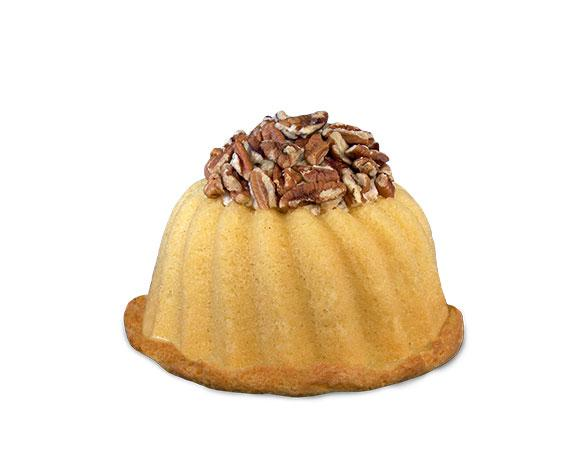 Vanilla pound cake in the shape of a bundt filled with Italian buttercream and topped with toasted pecans. Serves 6. Packaged in our signature yellow and white striped gift box with a blue bow.