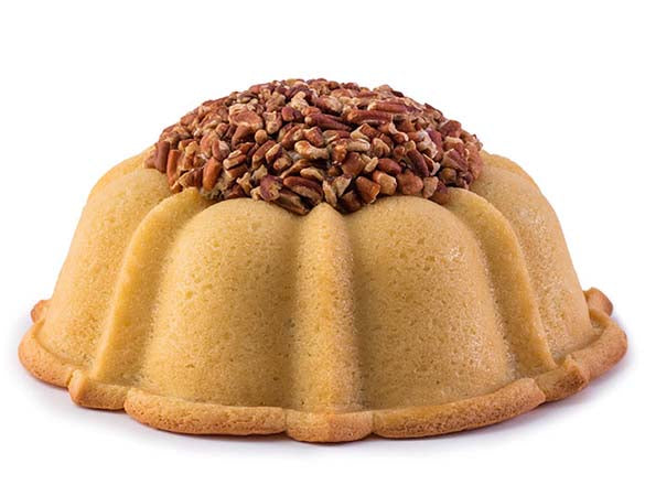 Vanilla pound cake in the shape of a bundt filled with Italian buttercream and topped with toasted pecans. Serves 12. Oprah's Favorite Things. Packaged in our signature yellow and white striped gift box with a blue bow.