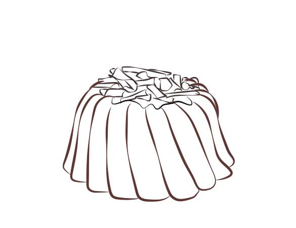 A slice of chocolate pound cake in the shape of a bundt filled with chocolate sauce and topped with chocolate shavings. Serves 6. Packaged in our signature yellow and white striped gift box with a blue bow.