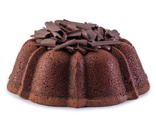 Load image into Gallery viewer, Chocolate pound cake in the shape of a bundt filled with chocolate sauce and topped with chocolate shavings. Serves 12. Oprah's Favorite Things. Packaged in our signature yellow and white striped gift box with a blue bow.