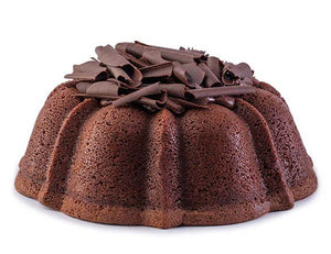 Chocolate pound cake in the shape of a bundt filled with chocolate sauce and topped with chocolate shavings. Serves 12. Oprah's Favorite Things. Packaged in our signature yellow and white striped gift box with a blue bow.