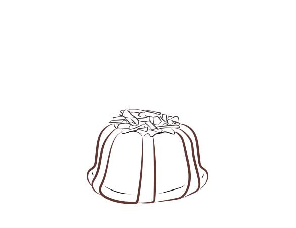 Chocolate pound cake in the shape of a bundt filled with chocolate sauce and topped with chocolate shavings. Serves 1-2. Each Janie's Cake Petite size pound cake is packaged in a clear container with a Janie's logo sticker and yellow and white striped closure sticker.