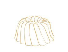 Load image into Gallery viewer, Gluten Free Vanilla pound cake in the shape of a bundt. Serves 6. Packaged in our signature yellow and white striped gift box with a blue bow.