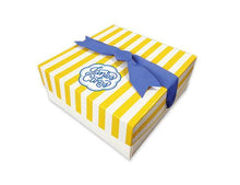 Load image into Gallery viewer, Every Janie's Cakes comes packaged in our signature yellow and white striped gift box with a blue bow.