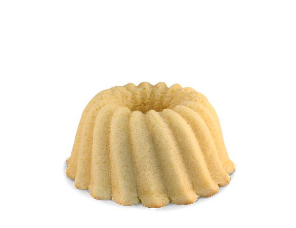 Gluten Free Vanilla pound cake in the shape of a bundt. Serves 6. Packaged in our signature yellow and white striped gift box with a blue bow.