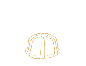 Each Janie's Cake Petite size pound cake is packaged in a clear container with a Janie's logo sticker and yellow and white striped closure sticker.