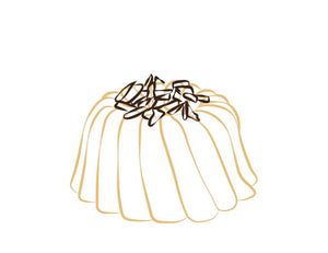 Vanilla pound cake in the shape of a bundt filled with chocolate sauce and topped with chocolate shavings. Serves 6. Packaged in our signature yellow and white striped gift box with a blue bow.