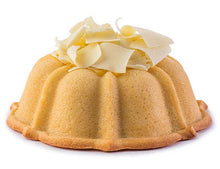 Load image into Gallery viewer, Vanilla pound cake in the shape of a bundt filled with lemon curd and topped with white chocolate shavings. Serves 12. Oprah's Favorite Things. Packaged in our signature yellow and white striped gift box with a blue bow.