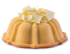 Vanilla pound cake in the shape of a bundt filled with lemon curd and topped with white chocolate shavings. Serves 12. Oprah's Favorite Things. Packaged in our signature yellow and white striped gift box with a blue bow.