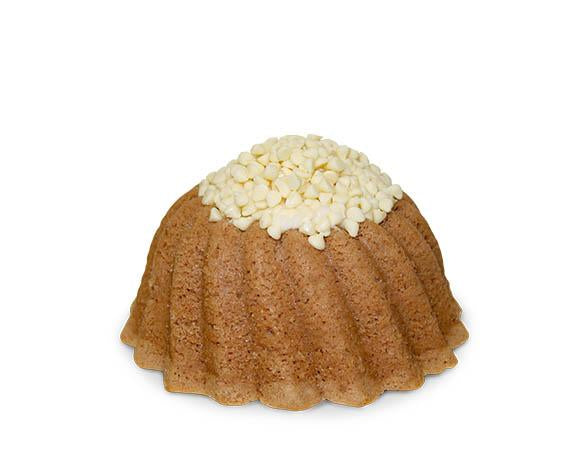 Velvety pound cake in the shape of a bundt with a hint of cocoa filled with cream cheese buttercream and topped with white chococlate chips. Serves 6. Red Velvet pound cake without the food coloring. Packaged in our signature yellow and white striped gift box with a blue bow.