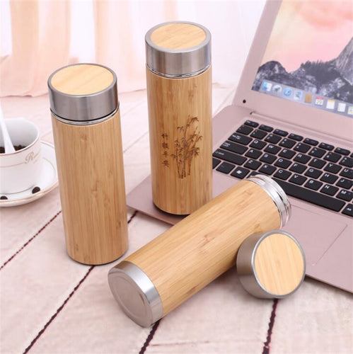 Natural Bamboo 350ML/ 450ML Stainless Steel Vacuum Flask