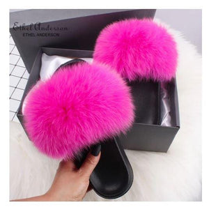 Fox Furs collection including different colored sandals/slides