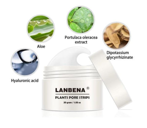 	LANBENA Blackhead Remover Nose Face Mask Pore Strip Black Peeling Acne Treatment Deep Cleansing Skin Care Mask   •	Product Size :30g + 60 Pcs tissues  •	Ingredients: Aloe, Sodium Lactate, Portulaca Oleracea Extract, Dipotassium, Glycyrrhizinatch, Charcoal, Hyaluronic Acid