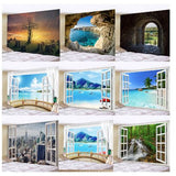 beach window tapestries, wall hanging tapestries, wall decoration, home decor, home accents