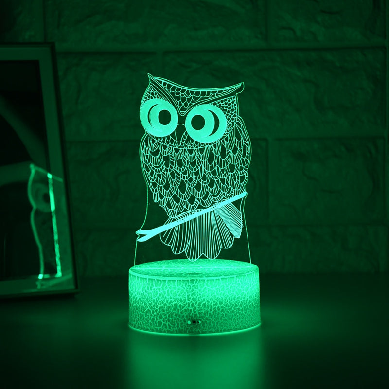 Kid Light Night 3D LED Night Light Creative Table Bedside Lamp Romantic Owl light Kids Gril Home Decoration Gift