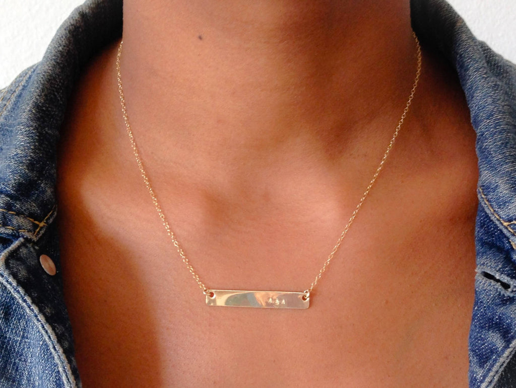 Hand stamped Bar Necklace 14k gold filled/ Rose gold filled or Sterling Silver. Personalized necklace