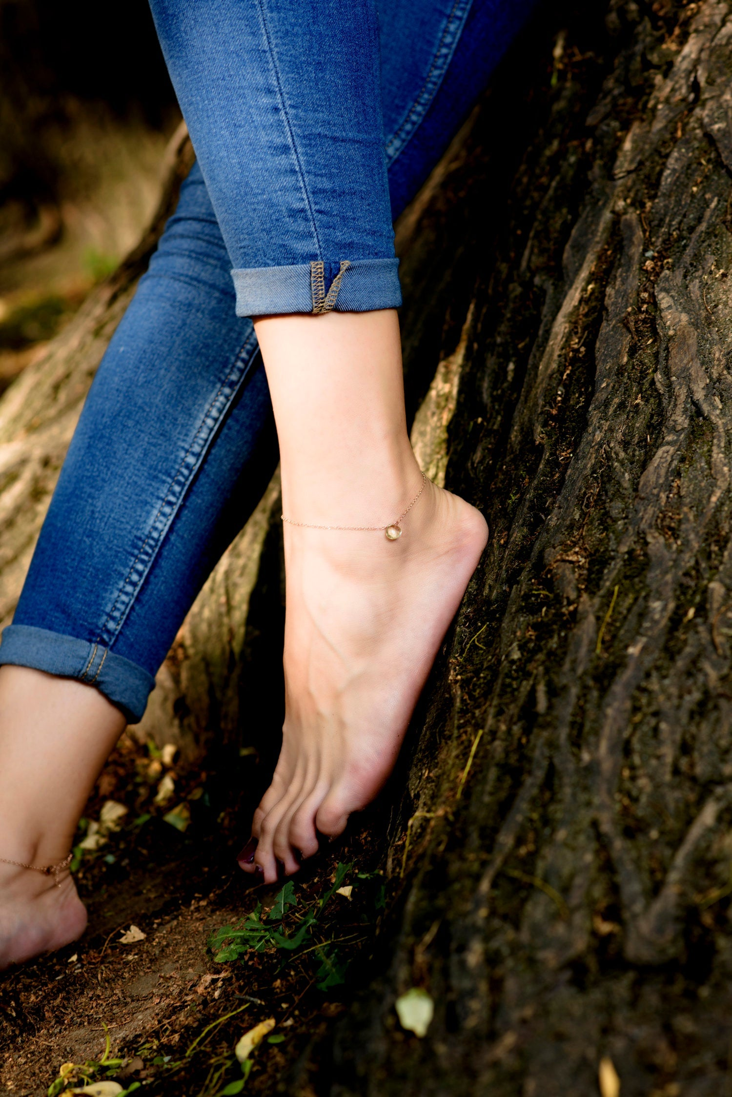 Dainty anklet with citrine charm/ Rose gold ankle bracelet with charm