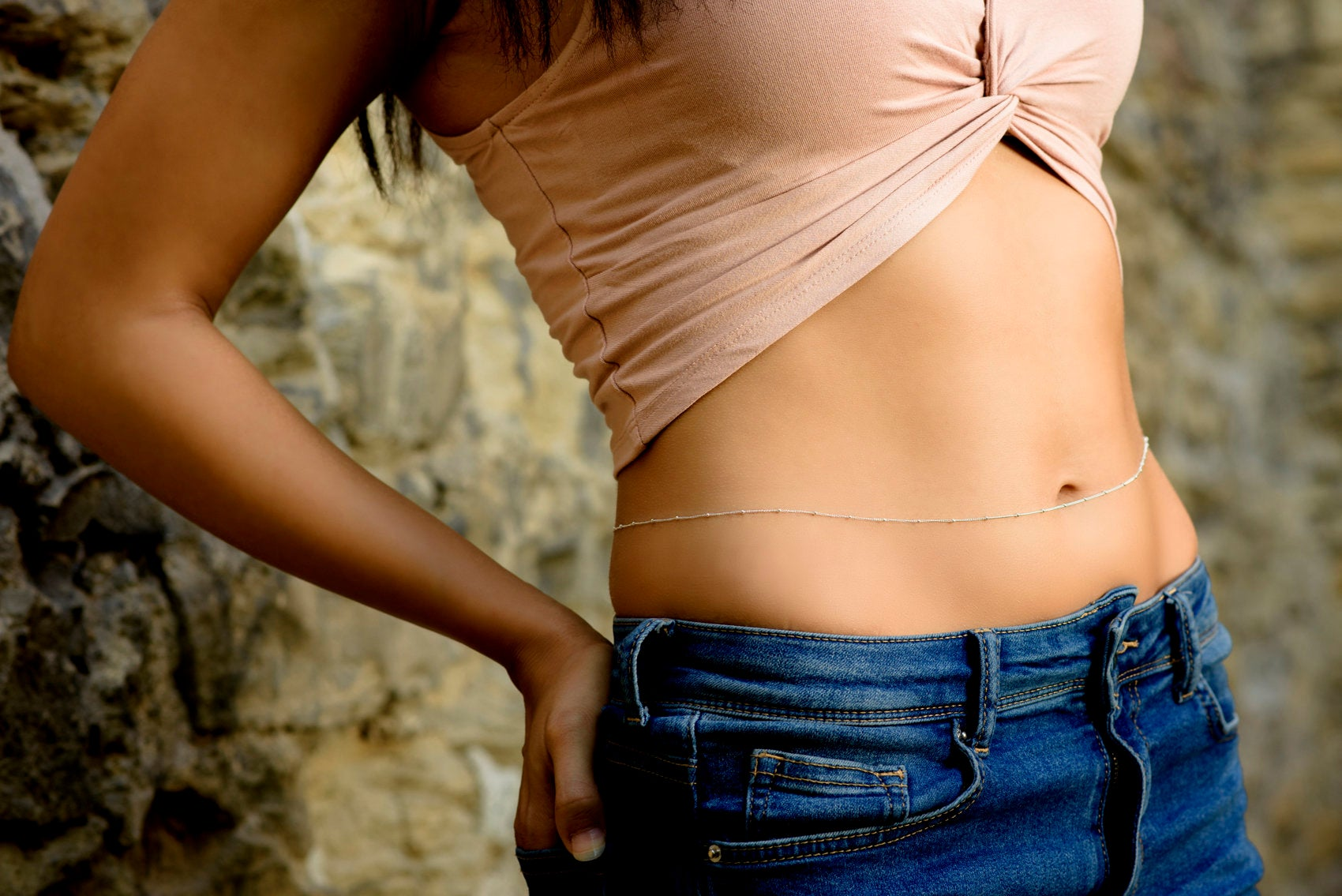 Belly chain in silver / simple body jewelry, Dainty belly chain, skinny waist chain