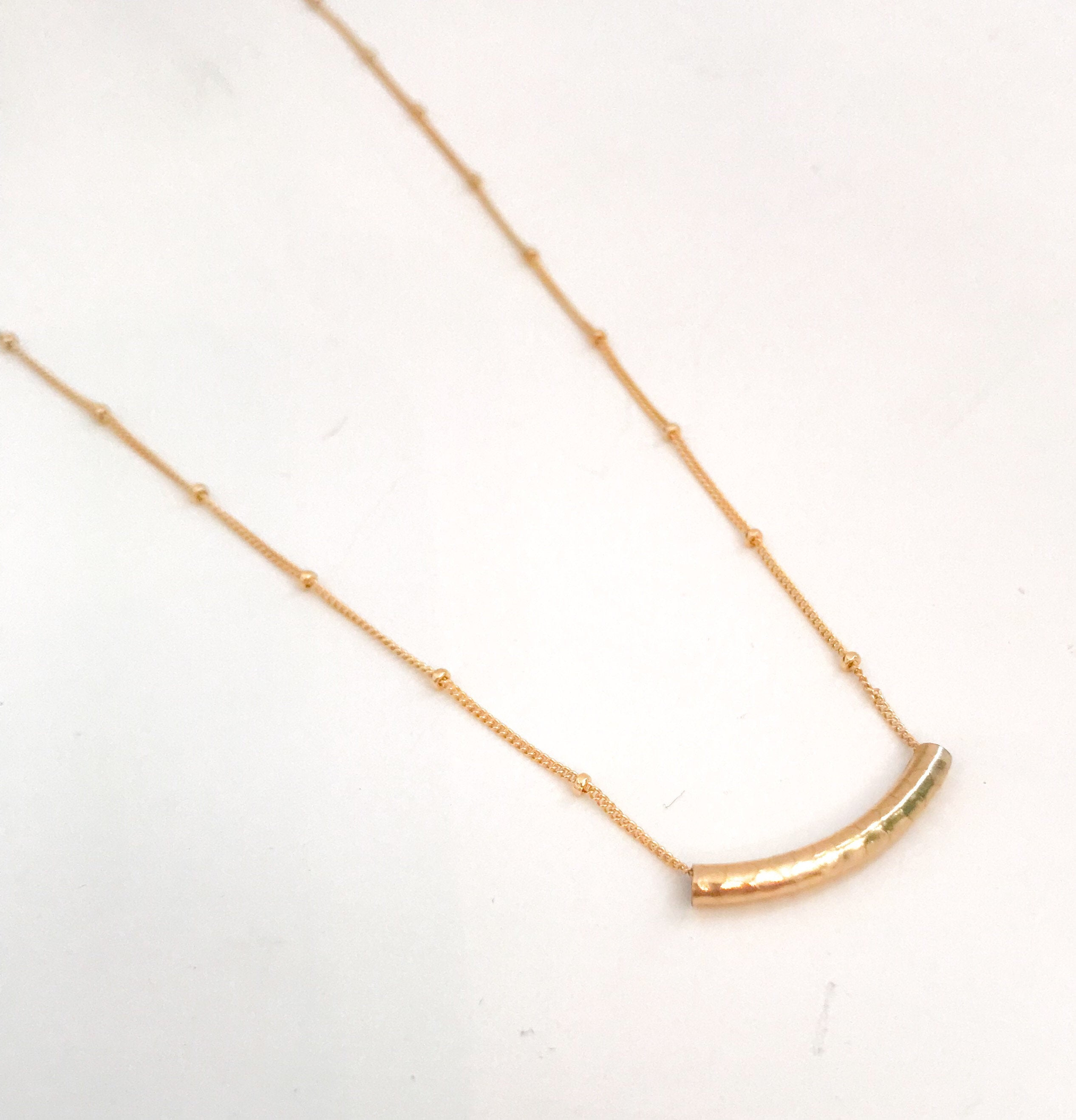 Simple Gold Minimalist Necklace/ Simple Bar necklace/ Necklace for layering