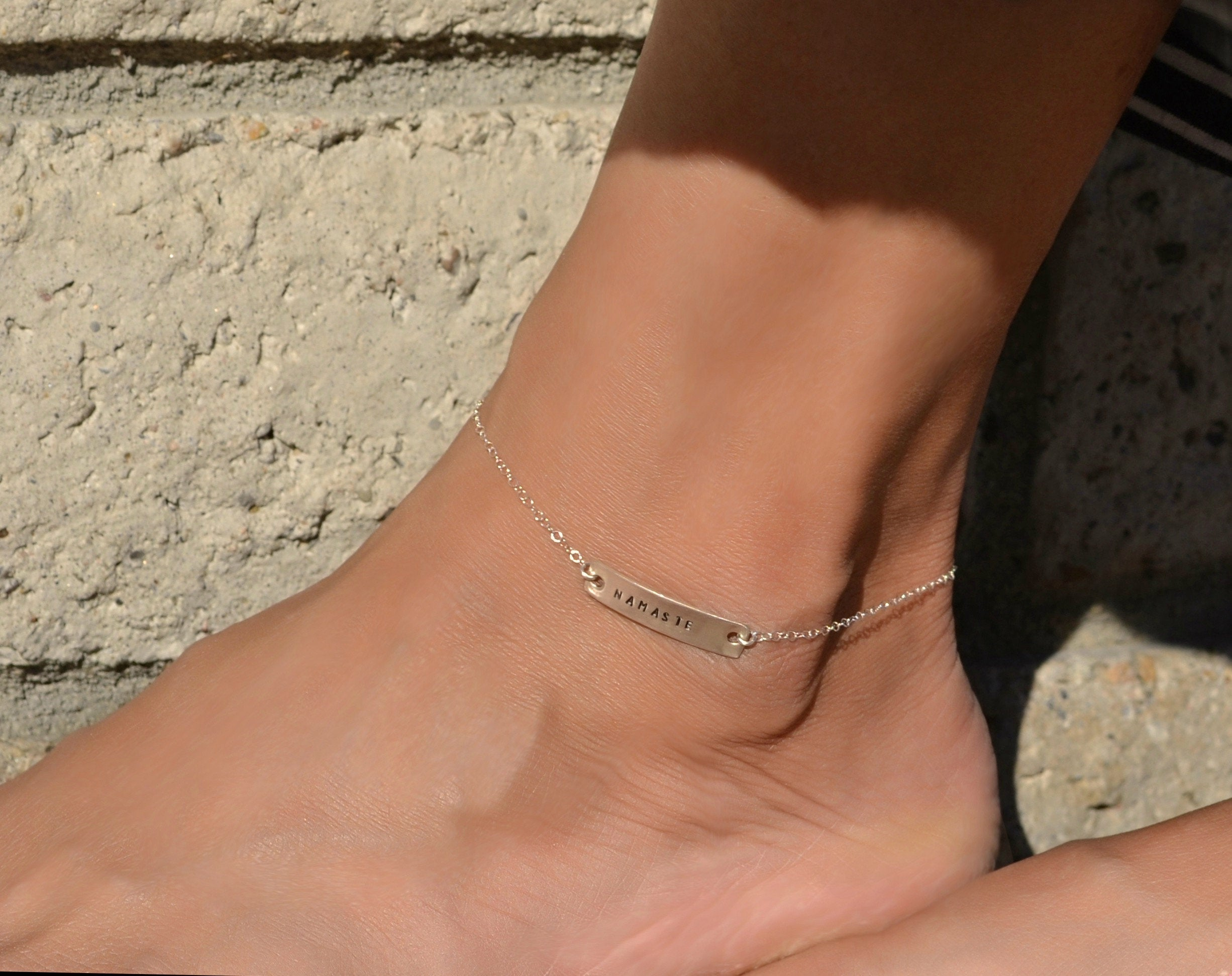 Personalized ankle name bracelet/ Personalized anklet/ Rose gold ankle chain, Best friend anklets, Bridesmaids anklet
