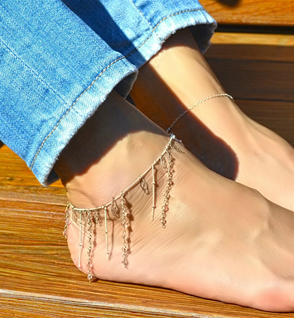 Boho ankle bracelet, beach anklet/ Silver slave anklet, beaded anklet/ Dangle rose quartz and silver foot jewelry