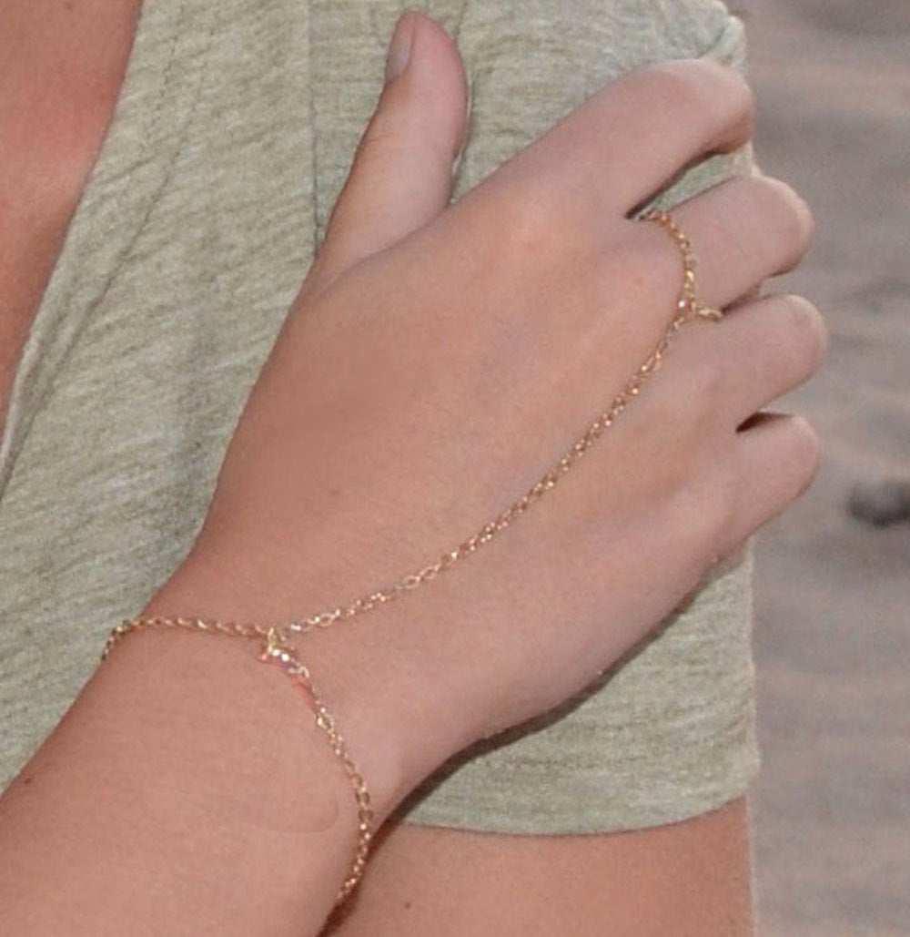 14k gold Filled Finger Bracelet Gold Filled Simple Slave Bracelet/ handmade ring bracelet