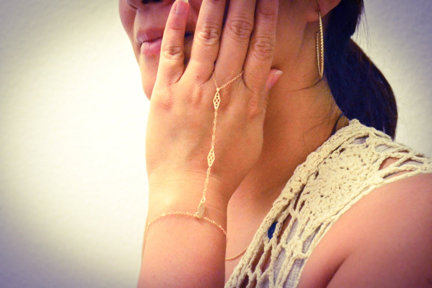 Gold Filled Ring Bracelet, Gold Slave Bracelet/ Ring Bracelet with Adjustable Size