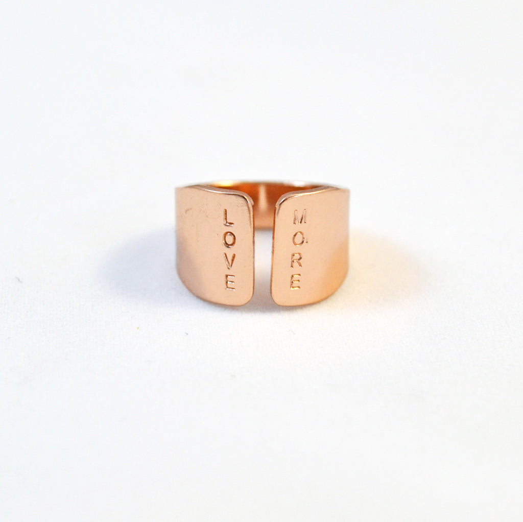 Rose Gold Wide Ring/ Hand Stamped Rose Gold Ring with LOVE MORE quote