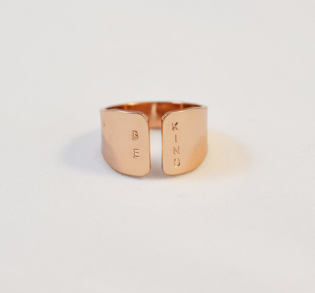 BE KIND Rose gold ring/ unique rose gold ring/ fun everyday jewelry