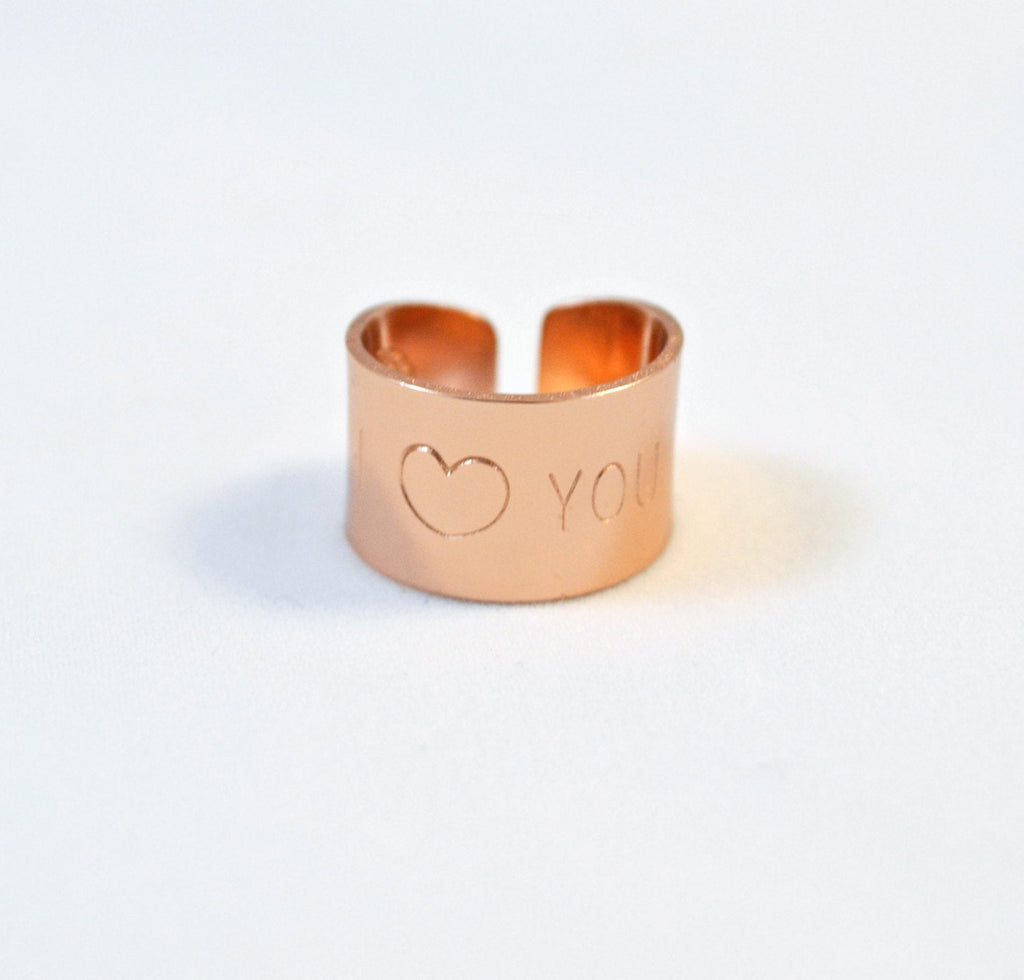 I love you ring, Rose gold heart Ring, Wide gold band Ring/ Hand Stamped Ring with heart you quote
