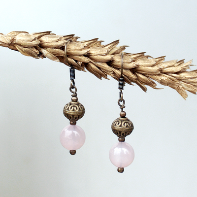 Birthstone Earrings: Rose Quartz