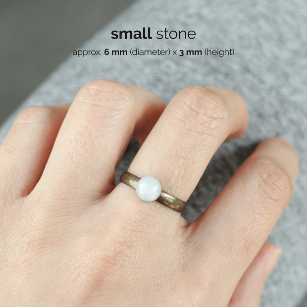 White Jade Birthstone Ring