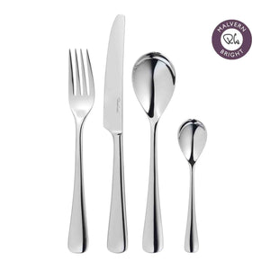 Malvern Bright Cutlery Set, 30 Piece including 6 Free Long Handled (Latte) Spoons for 6 People