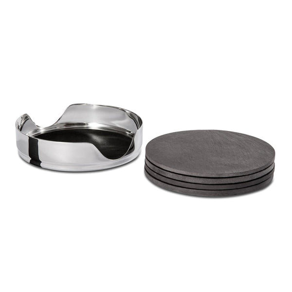 Slate Coaster Set - Coaster Holder and Slate Round Coaster