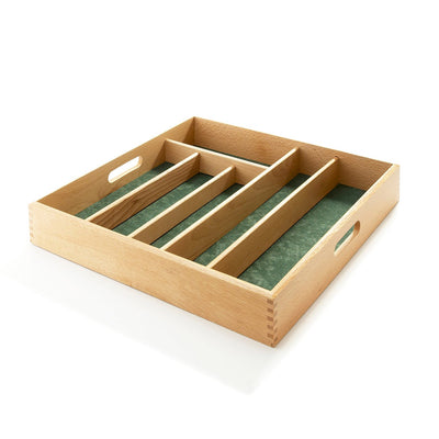 Cutlery Tray Green Lined Large