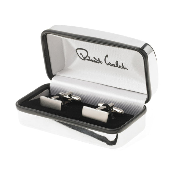 Stainless Steel Rectangular Cufflinks (Satin) - Boxed