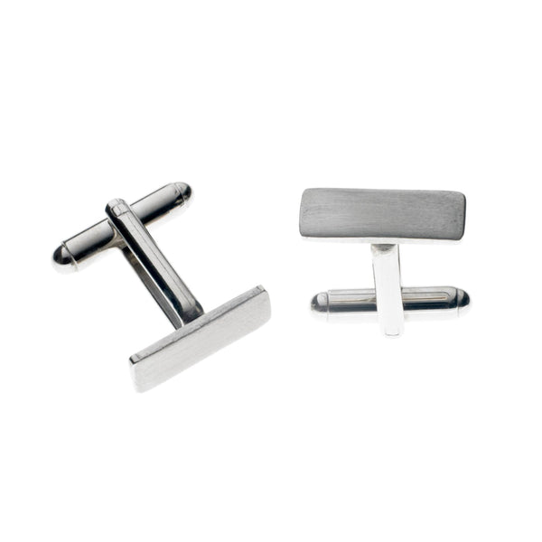 Stainless Steel Rectangular Cufflinks (Satin)